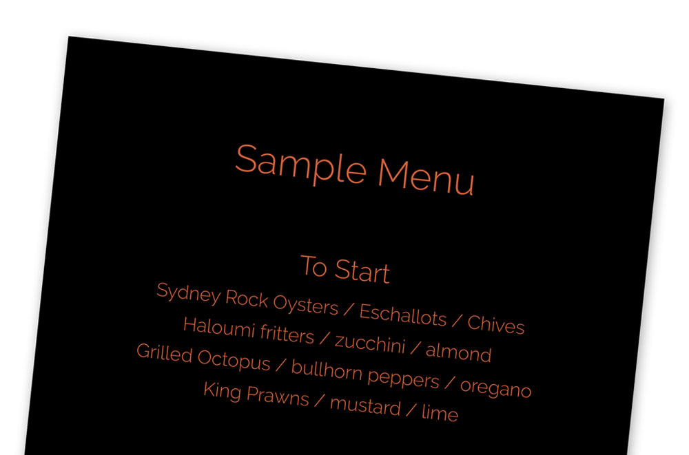 private dining menu sample