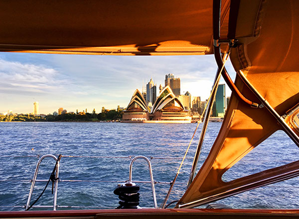 A sunset on Sydney Harbour onboard The Count during your private sunset sailing cruise experience